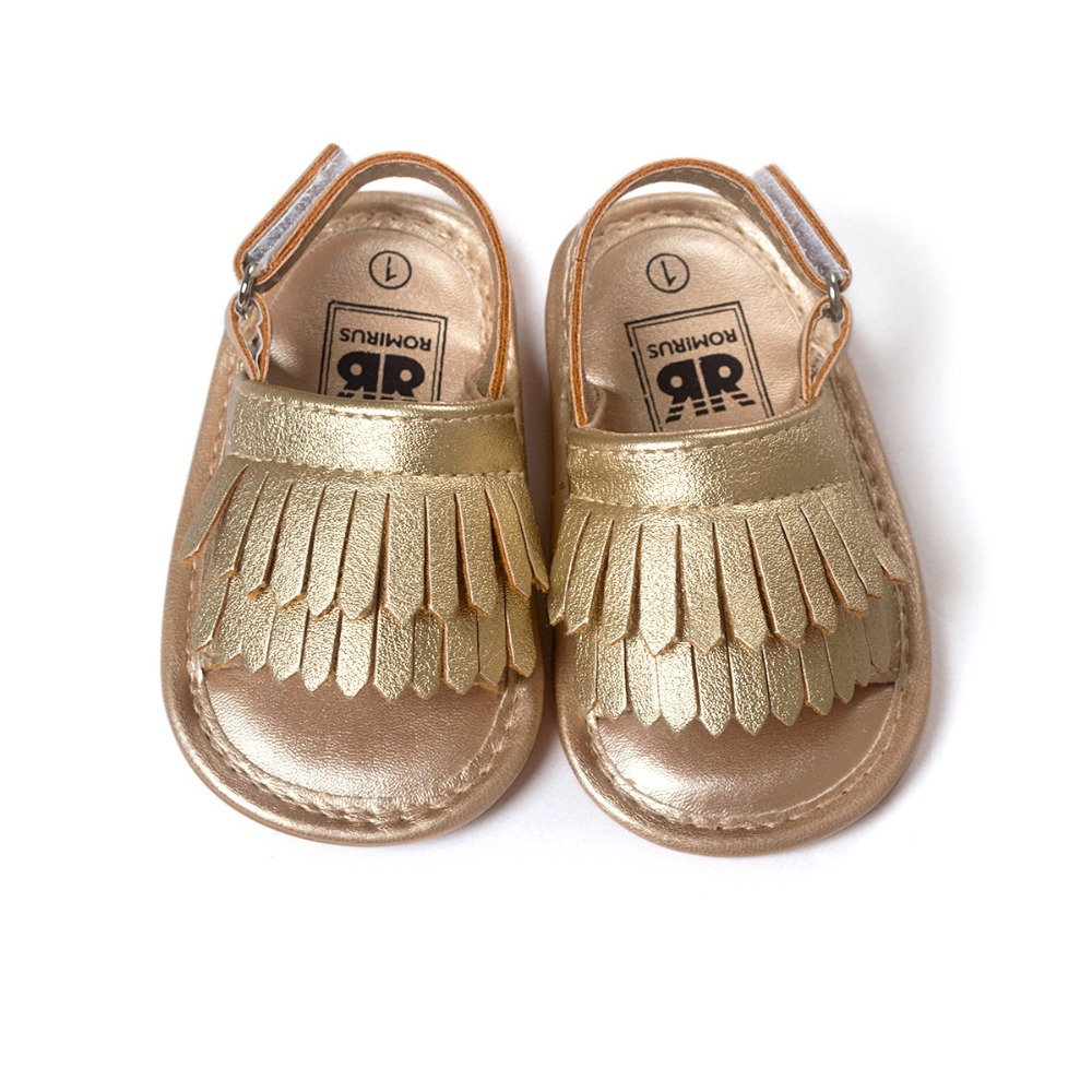 Rubber Sole Summer Baby Boys Girls Shoes Tassel Design PU Leather Baby Moccasins Nonslip 0-18M Toddler Beach Shoes