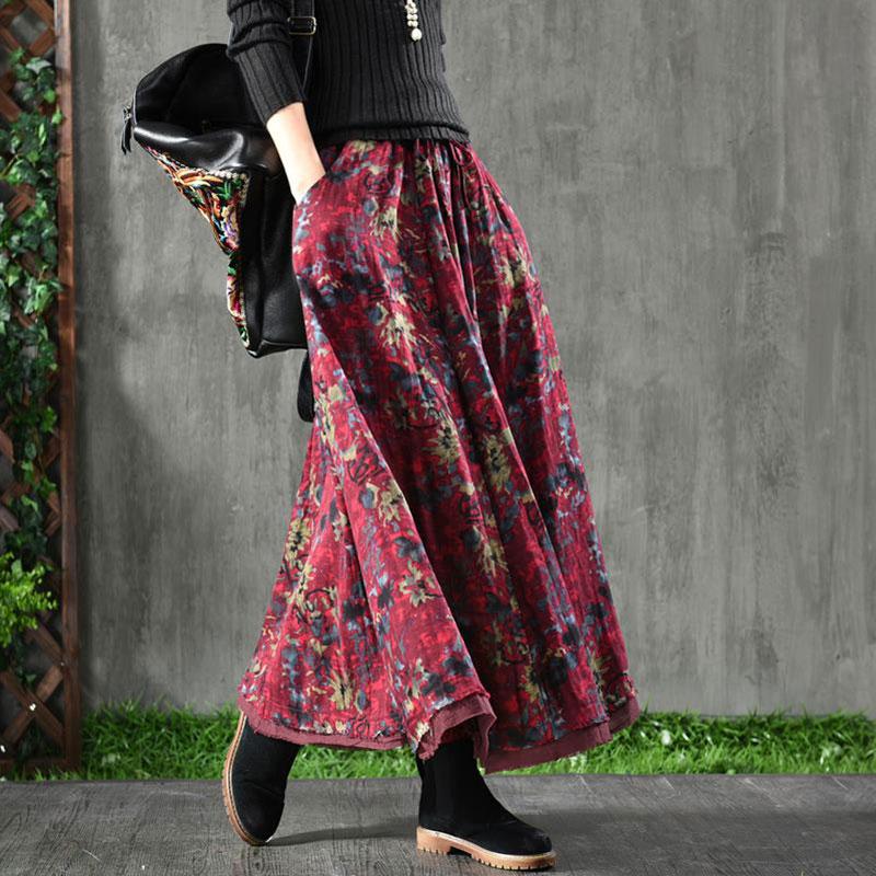 Darmowa wysyłka 2019 nowa podwójna warstwa długi Maxi linii spódnice dla kobiet elastyczna talii jesień i wiosna bawełniana pościel druku spódnice w Spódnice od Odzież damska na  Grupa 1