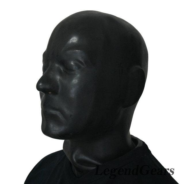 Capucha de látex de caucho negro fancy dress completo head mascarilla humana fetiche fetiche capucha cosplay ojos cerrados