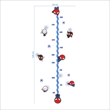 Marvel Cartoon Spiderman  Height Measure Chart Ruler Wall Stickers For Kids Rooms Decals Home Decoration DIY Posters