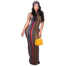 Bohemian Striped Print Sleeveless Long Dresses Women Halter Sexy Dresses Lady Casual Nightclub Maxi Dress sisjuly print halter maxi dress