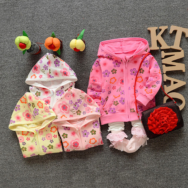 Casual Fashion Autumn Girls Cotton Floral Jackets Cardigan Baby kids Infant Children Cap Outwear Sweatshirts With Hooded