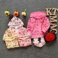 Moda Casual Outono Meninas Cotton Floral Casacos Cardigan Bebê crianças Infantil Cap Crianças Outwear Camisolas Com Capuz