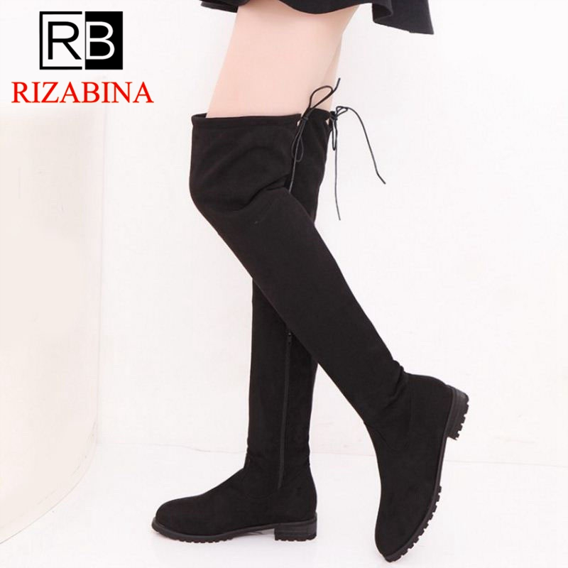 RizaBina Size 34-43 Thigh High Boots Female Winter Boots Women Over the Knee Boots Flat Stretch Sexy Fashion Shoes Women цена