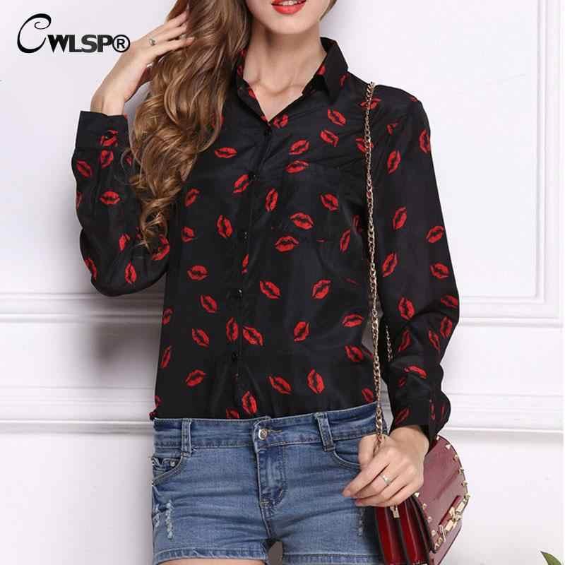 CWLSP 2018 Yaz şifon bluz Gömlek Tops Moda kırmızı Dudaklar Baskı Sonbahar uzun kollu OL Beyaz Bluzlar