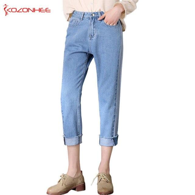 15b463fbfc13 Loose Light Blue Straight jeans High Waist Washed True Denim Pants  Boyfriend Jean Femme For Women Jeans  31