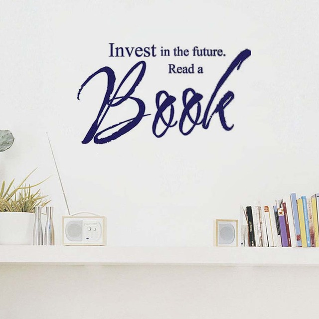 Dctop invest in the future read a book wall decal sticker quotes living room removable waterproof
