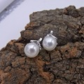 925 sterling silver pearl jewelry stud earrings 7mm semi round pearl cloves design setting CZ stone jewelry earring