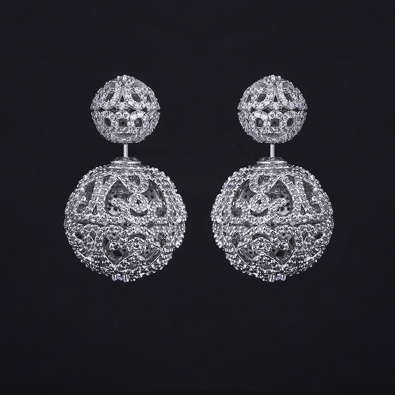 CS-DB Silver Long White Round Cubic Zirconia Christmas Gift Hook Stud Charm Earrings