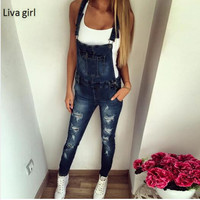 asual Jeans Jumpsuits Romper Women Sexy rippped Hole Denim Jumpsuits Body Feminino Pencil Pant Overall Bodysuit girls