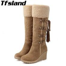 Плюшевые зимние сапоги на каждый день; женские нескользящие сапоги до колена на танкетке; теплая Женская прогулочная обувь с хлопковой подкладкой; теплые зимние кроссовки