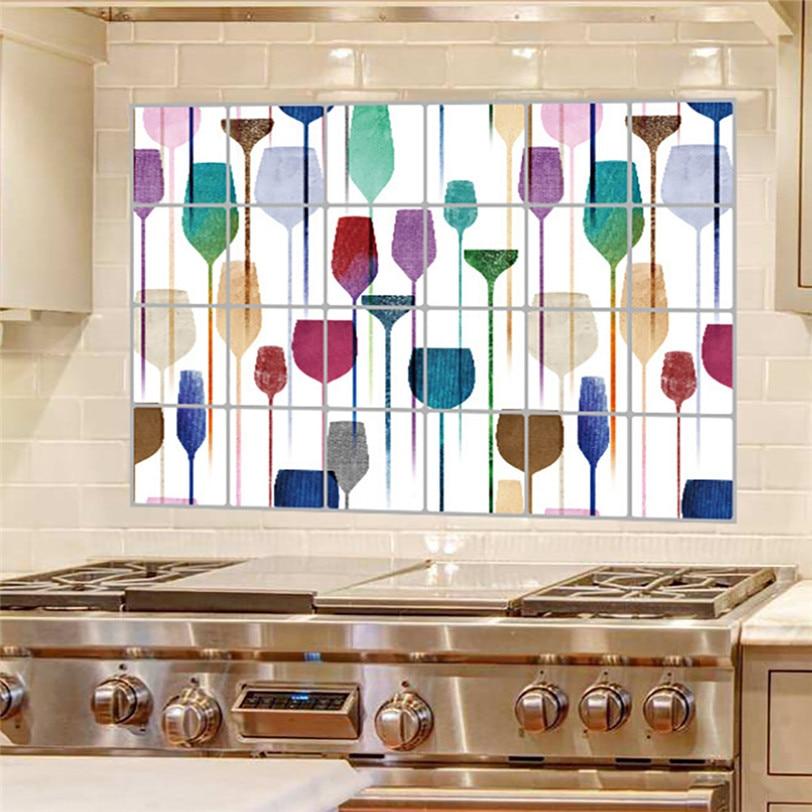 KAKUDER Wallpaper Kitchen Self-adhesive Wall Sticker Waterproof Foil Stickers Anti-oil Wrap Wall Stickers Home Decor Bathroom