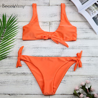 New Arrival Women Knotted Padded Thong Bikini 2018 Sexy Mid Waisted Solid Color Scoop Neck Brazilian