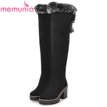 MEMUNIA Large size 34-43 over the knee boots fashion shoes women keep warm snow boots high heels shoes winter boots flock  недорого
