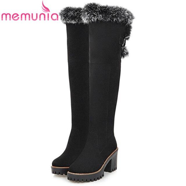 Memunia/Большой Размер 34–43 Сапоги выше колена модная женская обувь теплые зимние ботинки обувь на высоком каблуке зимние ботинки из флока
