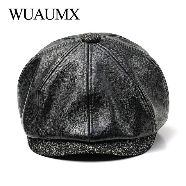 58704d3de79 Wuaumx NEW Fall Winter Octagonal Hat PU Leather Newsboy Caps Men Warm  Detective Hats Male Painter Caps Berets Visors chapeu