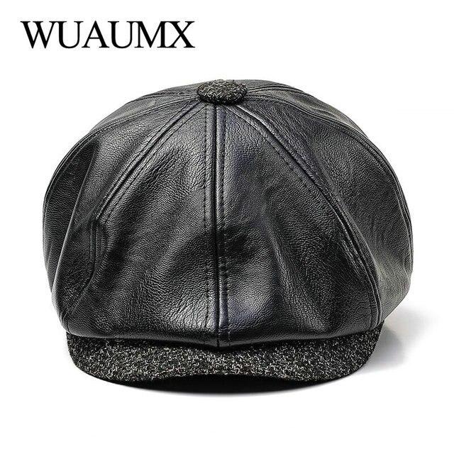 Wuaumx nuevo Otoño Invierno sombrero octogonal PU Newsboy Caps Hombres  Calientes Detective sombreros masculinos pintor gorras 8912873b5cae