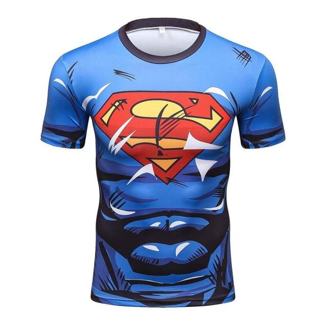 US $5.84 45% OFF|Marvel Super Heroes Avenger Superman Spiderman T shirt Men Base Layer Thermal Top Fistness tshirt homme male tops tee|spiderman t