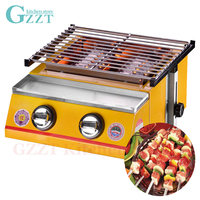 Gas Barbecue Grill Household Commercial Yellow Two Burners Gas Grill Steel Shield or Glass Shield Environmental Garden Pinic BBQ