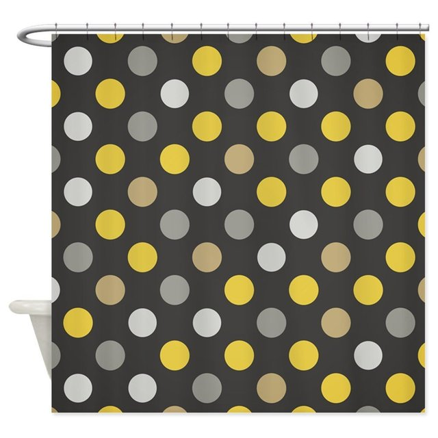 Cute Yellow and Black Polka Dots Shower Curtain Decorative Fabric ...
