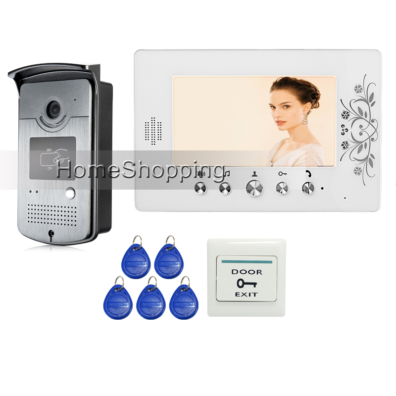 Free Shipping Home 7 LCD Color Video Door Phone Intercom Kit + 1 RFID Access Door Camera + 1 White Monitor In Stock Wholesale