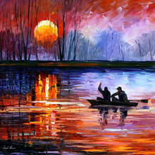 Hand Painted Landscape Abstract Fishing On The Lake Palette Knife Modern Oil Painting Canvas Wall Living Room Artwork Fine Art