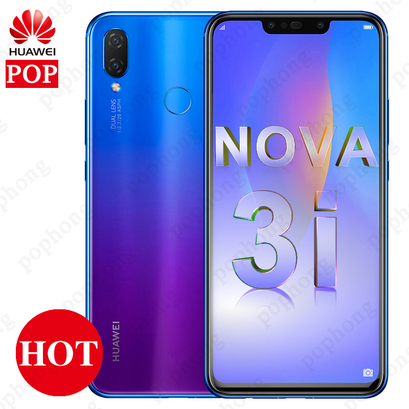 Global Firmware Huawei nova 3i nova3i Mobile Phone 4G/6G RAM 64G/128G ROM 6.3 inch Kirin710 Octa Core Android 8.1 Smartphone writing