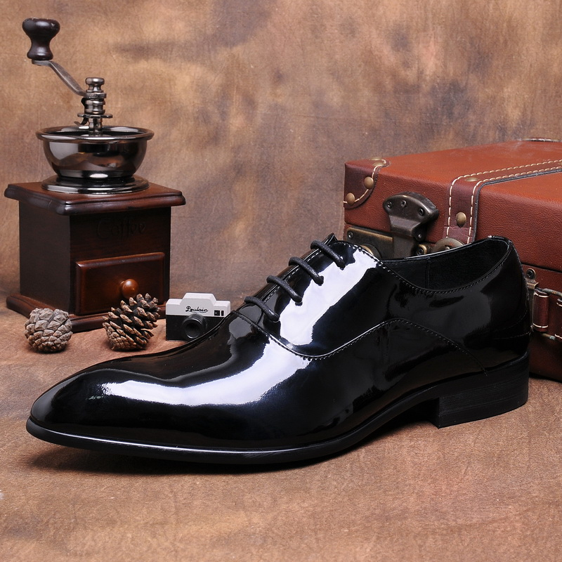 Black Italian Real Leather Formal Office Businessman Shoes Patent Leather  Men Wedding Dress Fashion Oxfords Shoes. sku  32915019967 f2f74ad970cb