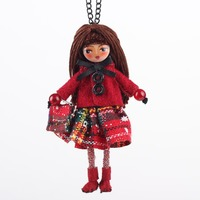 Bonsny Handmade Doll Necklace French Statement Cloth Long Pendant 2015 New Winter Trendy Jewelry For Women