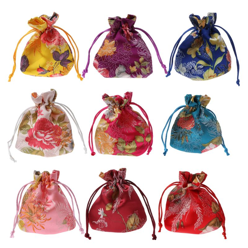 Drawstring Pouch Wedding Candy Packing Classic Chinese Flower Embroidery Jewelry Bag Organizer Silk Traditional Pouch Organizer