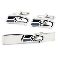 CF0668 Sports Seattle Seahawks Cufflinks And Tie Bar Gift Set Football For Men Shirt and tie accessories