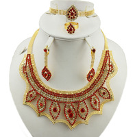 Luxury jewelry set for ladies colorful stone necklace set african beads jewelry set for women Indian jewellery