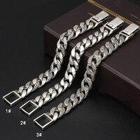 Реальный S925 стерлингового серебра Для Мужчин's модный браслет широкий 16 мм полированная звено цепи мужской Байкер тайский серебряный брасл