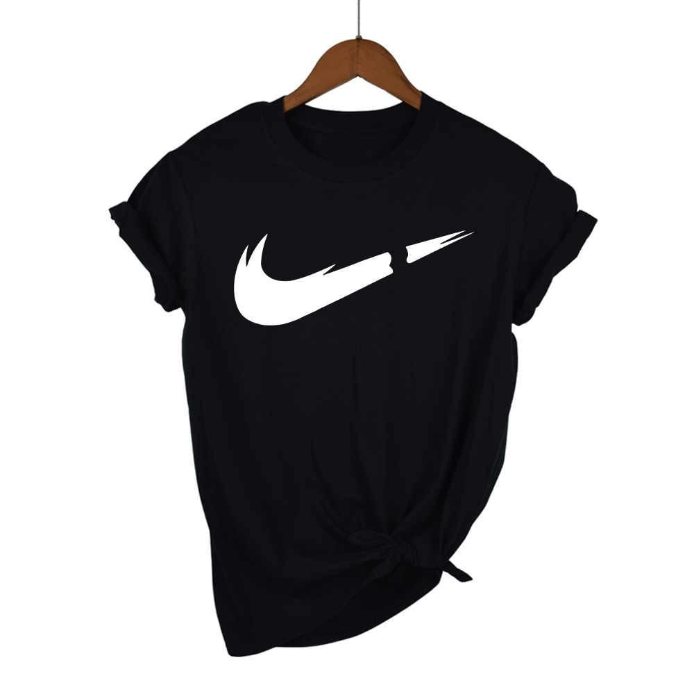 Cotton casual LOGO printing female T-shirts for women top fashion short-sleeved  tshirt shirt men's/women T shirt 2019