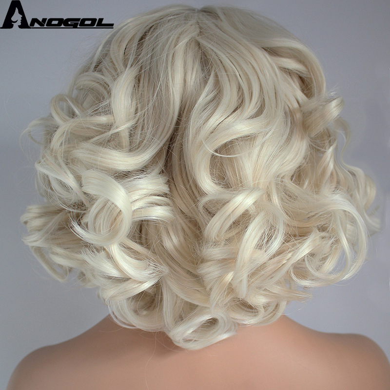 Anogol High Temperature Fiber Deep Peruca Perruque Short Body Wave Full Hair Wigs Platinum Blonde Bob Synthetic Lace Front Wig