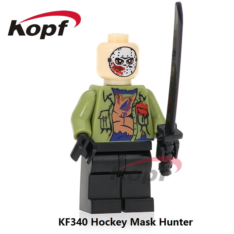 20Pcs KF340 Building Blocks Hockey Mask Hunter - Black Friday Jason Leatherface The Horror Theme Movie Bricks Children Gift Toys