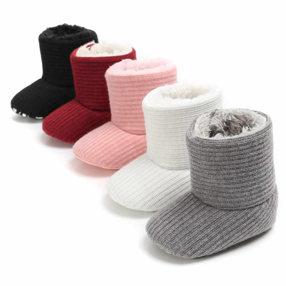 Baby Shoes Girl Pink Keep Warm Plush Soft Sole Snow Boots Solid Soft Crib  Shoes White fa586f54492c