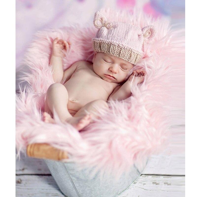 0-3 months newborn crochet hats winter baby beanie handmade baby girls rabbit pink knitted hats newborn props