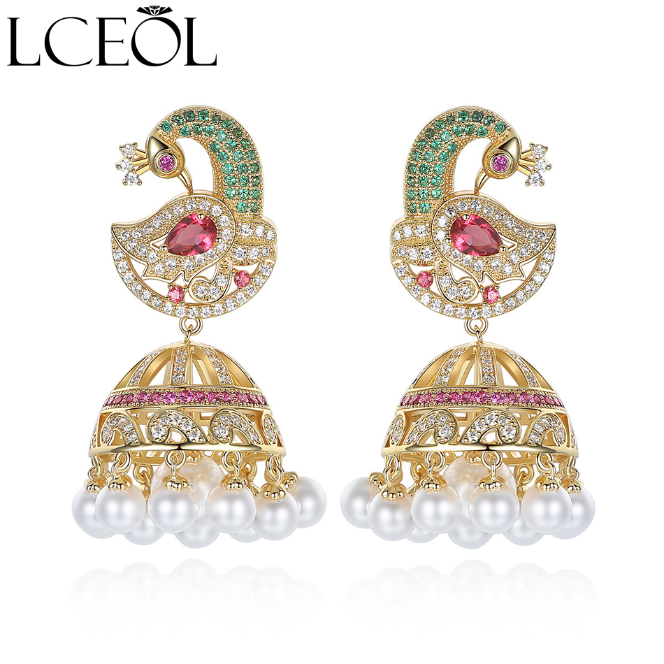 LCEOL New Ethnic Bridal Jewelry Antique Gold Color Bird With Created Pearl Umbrella Drop Indian Jhumka Jhumki Drop Earrings bird hoop drop earrings