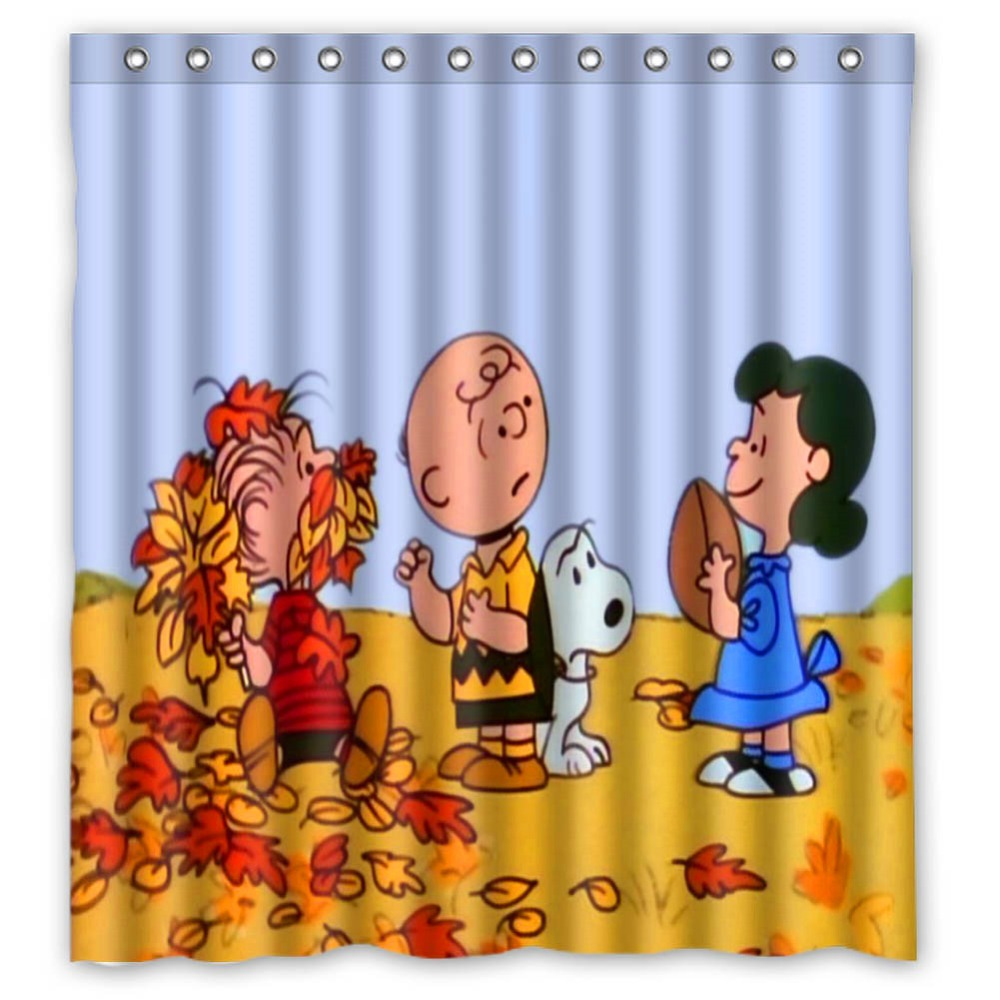 Vixm Cartoon Shower Curtains Peanuts Thanksgiving Fabric Bathroom 66x72 Inch In From Home Garden On Aliexpress