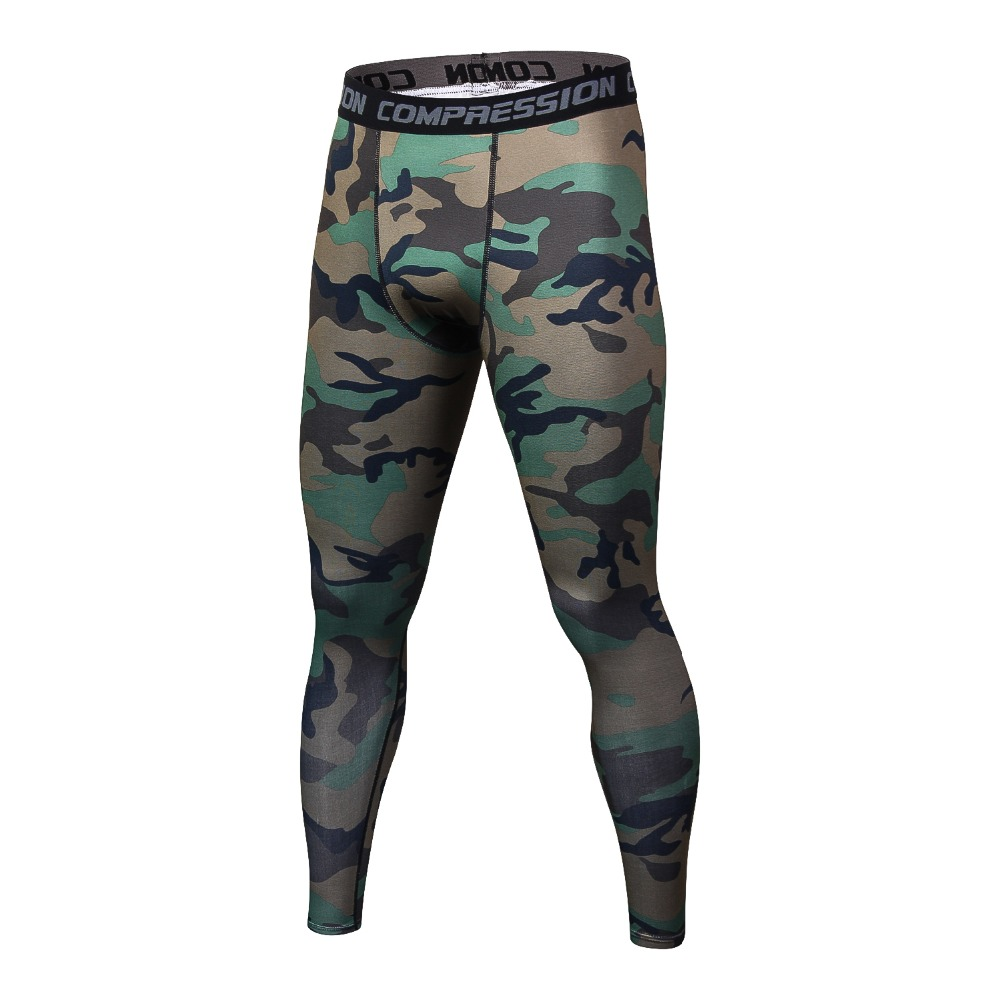 Men Compression Pants Tights Casual Bodybuilding Mans Trousers Brand Camouflage Army Green Skinny Leggings Slim Fit Fitness Pant