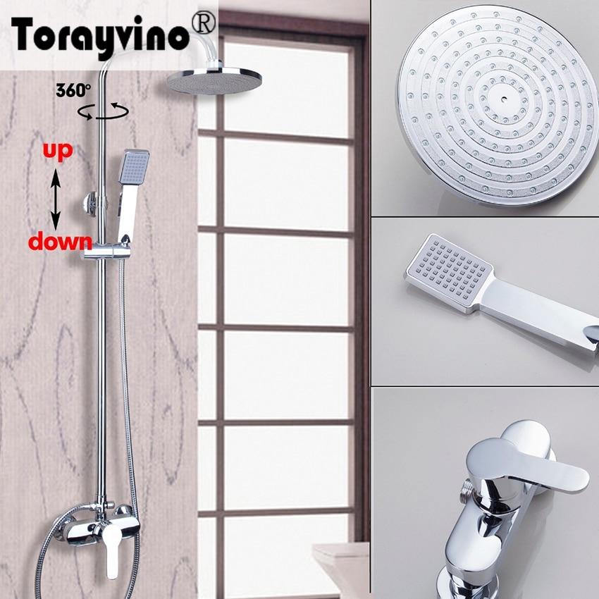Torayvino Fashion Polished Chrome Rain Waterfall Shower Sets Faucet Wall Mounted With Slide Bar Hot&Cold Mixer Tap poiqihy chrome rain