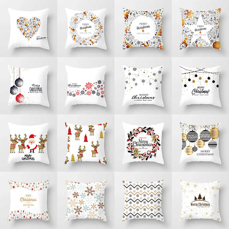 Christmas Cushion Cover Merry Christmas Decoration Pillowcases Santa Claus Polyester Throw Pillow Case Cover kerstmis navidad