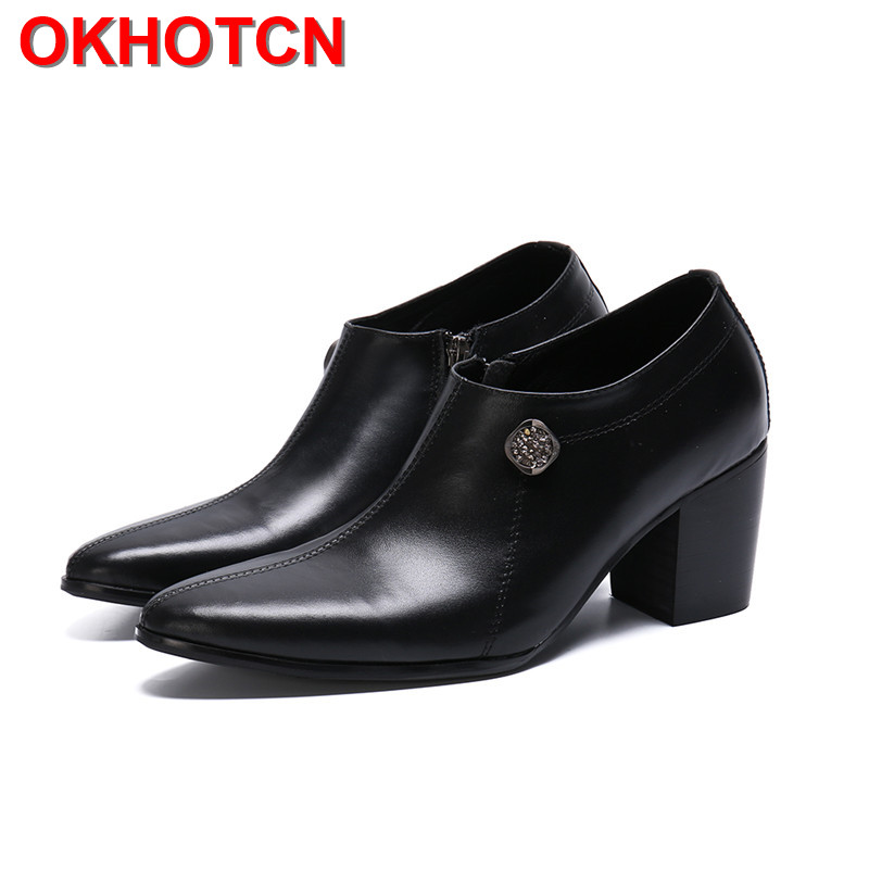 Side Zipper Mens Shoes High Heels Italian Shoe Brand Thick Sole Oxford Shoes Rhinestone Large Sizes Mens Dress Boots High Heels