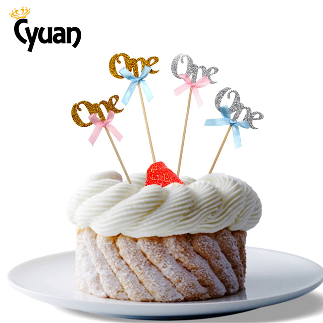 Cyuan 12pcs Sparkling Numbers One Cupcake Topper Happy 1st Birthday Kids Baby Shower Wedding Anniversary Cake Decoration