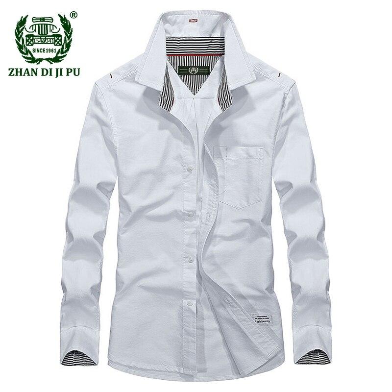 2018 Jesień biznes men casual marka wysokiej jakości 100% bawełna biały koszula mężczyzna wiosna afs jeep niebieski długi rękaw koszulki szary topy