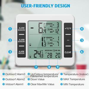 Image 3 - ORIA LCD אלחוטי דיגיטלי מדחום מקרר שלט רחוק מטבח טמפרטורת מדחום מקורה חיצוני עם מעורר
