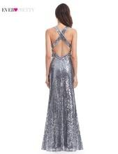 Evening Dress Sparkle Ever Pretty Long Deep V-Neck 2017 Natural Waist EP07109GY Mesh Cross Back Shiny Sequin Evening Dress