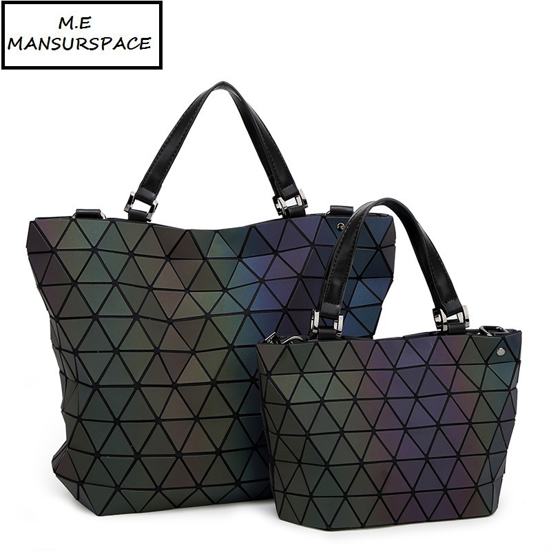 MANSURSPACE Women Brand Bag Luminous sac bao Bag Diamond Tote Geometry Quilted Shoulder Bags Laser Plain Folding Handbags bolso geometry laser women bao bao bags women shoulder bag transformation luminous laser geometric bag diamond lattice women handbags