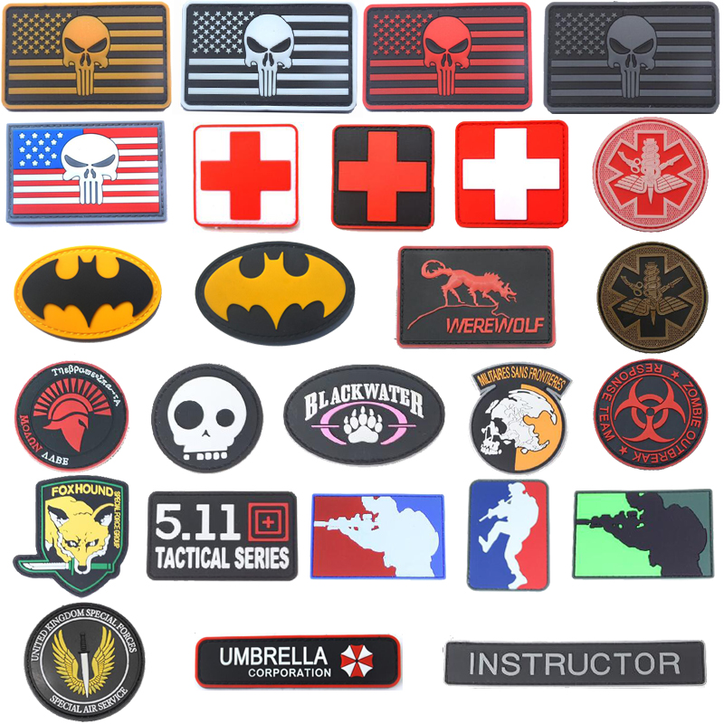 3D Flag Patch Medical Rescue Size Eye Sniper Fox Umbrella World Air Force Seal Spartan Military Badge Tactical Air Gun Patch(China)